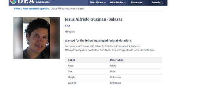 """Incluye DEA a hijo de """"EL Chapo"""" Guzmán en lista de los 10 más buscados"""