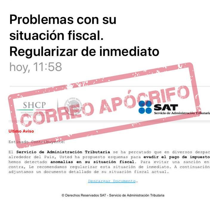¡Ten cuidado! El SAT alerta sobre envío de correo apócrifos