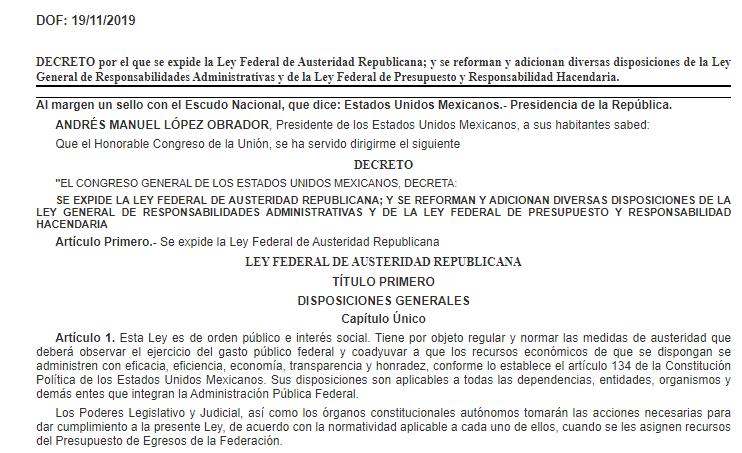 Publican en el DOF el decreto por el que se expide la Ley de Austeridad