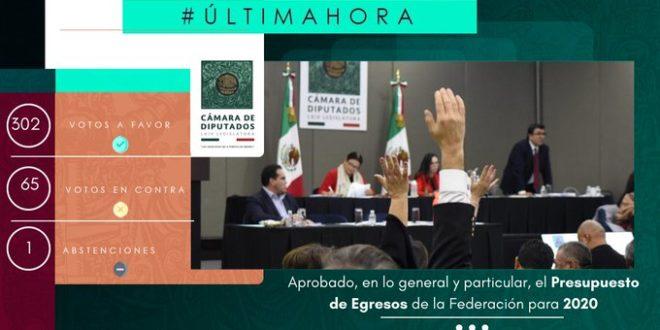 Aprueban Diputados el Presupuesto de Egresos de la Federación 2020