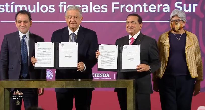 Otorga gobierno estímulos fiscales a frontera sur; busca detonar la economía