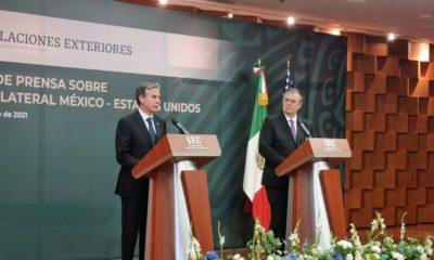 Antony Blinken y Marcelo Ebrard en conferencia de prensa / @SRE_mx
