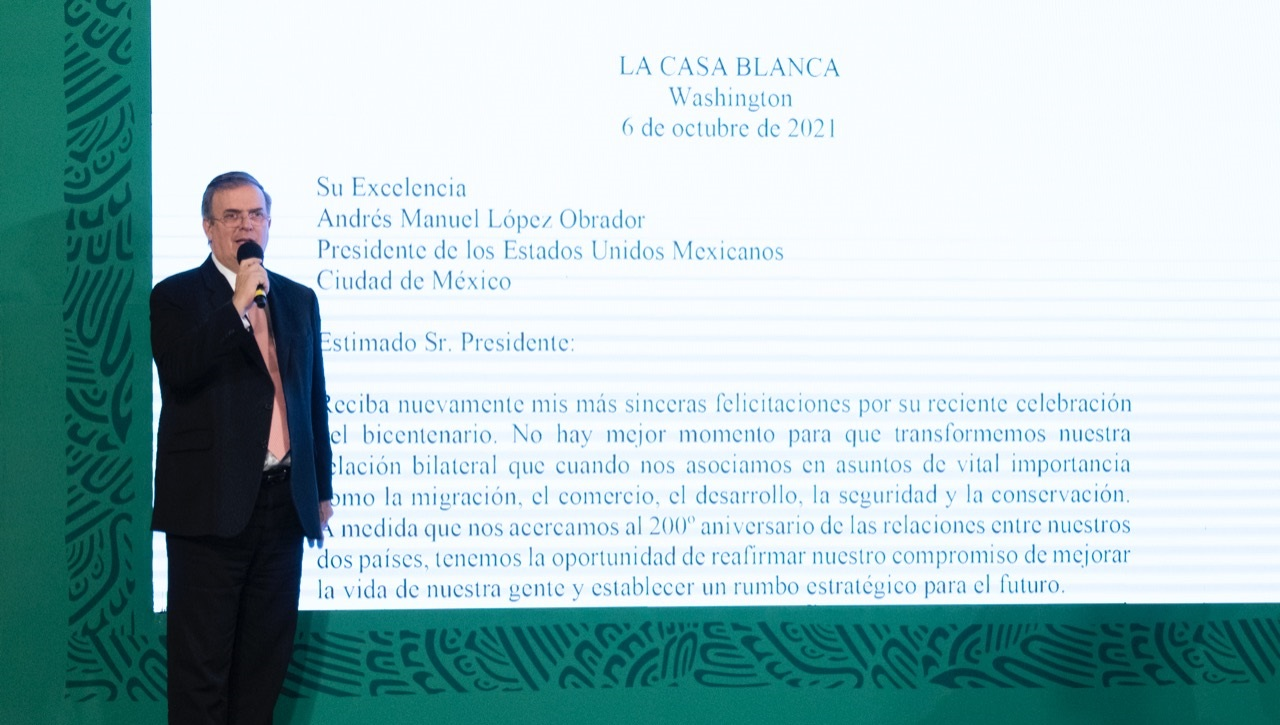 Marcelo Ebrard leyó carta de Joe Biden a AMLO / Presidencia de la República